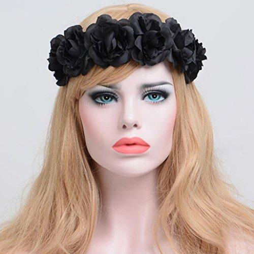 Longless Frau Simulation Blumenhaarband Halloween Weihnachten Stirnband Kranz europäischer und amerikanischer Kopfschmuck (Halloween Kränze)