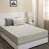 Maspar Superfine Cotton 210 TC Yellow King Bedsheet with 2 Pillow Covers