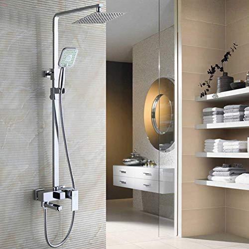 """WJSW Duschsystem Chrom Badezimmer Dusche Set Wasserhahn mit 8\""""ultradünnen Duschkopf und Handbrause Swivel Badewannenarmatur Höhe einstellen"""