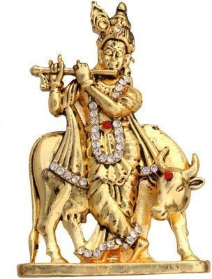 Hindu god idols | Hindu god statues | Hindu god stone statues | Car accessories god idols | Religious idols | Krishna idol with cow, lord krishna statue in brass  available at amazon for Rs.285