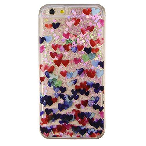 iPhone 6 Hülle iPhone 6S Hülle,iPhone 6S Case,EMAXELERS Cute Weißes Kleid Mädchen Muster Hart Transparente Hülle Case Cover Fairy Mädchen Serie 3D Glitter flüssigkeit Schwimmende Veränderung farbe Pai Pink Heart Series 3
