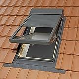 Dachfenster Kunststoff 78x140 cm mit Lüftung und inklusive elektro Alu-Rollladen und Eindeckrahmen für Ziegel von SOLSTRO: 78x140 cm PVC-VENT Schwingdachfenster Kunststoff mit Lüftung und mit passenden Aussenrollladen mit Fernbedienung