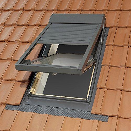 Dachfenster Kunststoff mit elektro Rollladen inkl. Eindeckrahmen für Ziegel der Marke Solstro: 55x98 cm PVC Schwingdachfenster mit passenden Aussenrollladen
