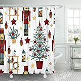 Cortinas de baño Bath Curtain, Shower Curtain Home Decor Bathroom Red Ball ristmas with Nutcracker Tree Stars and Lanterns Candle Cartoon Collection Shower Hooks Set Are Included