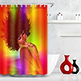 Afro Hairstyle,Young Girl,Gold Jewelry,Purple_Decor Shower Curtain for Bathroom, Water Resistant Polyester Fabric Bathroom Curtain,59W x71H