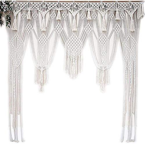 Cortina macramé con cenefas para decoración de hogar o arco de boda