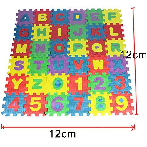 MoMo Honey Puzzle Spielmatte, 36 Stücke DIY Schaum Bodenmatte, Dicker Weichere Zahlen Buchstaben Baby Krabbeln Matte Für Förderung Kinder Visuelle Sensorische Entwicklung 36Pcs # 12cm