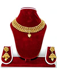 The Fancy Shop Gold Plated Copper Necklace With Earrings For Women