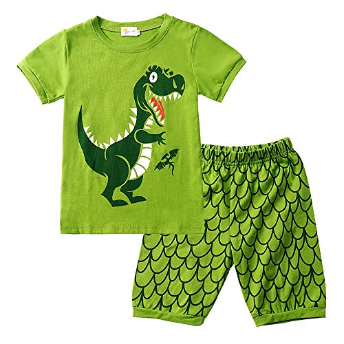 Jungen Kurzarm-dinosaurier (EULLA Jungen Schlafanzug Set Neuheit Cartoon Dinosaurier Bagger Nachtwäsche Kurzarm Pyjamas Outfit, 2-dinosaurier, 110(Herstellergröße:130))