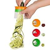 Linkax Affetta Verdure Affettatrice a spirale 3 Lame Spiralizzatore Taglierina a Spirale Mano per Verdure Grattugia Cetriolo e Zucchine Spaghetti di patate