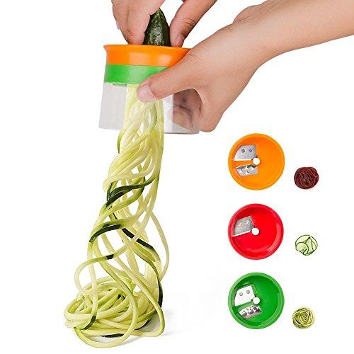 Linkax Cortador de Verduras Frutas en Espiral Multifuncional Rallador de Verduras Mano con 3 Cuchillas en Espiral para Cortador de Pepinos Rallador de Zanahorias Rallador de Espiral