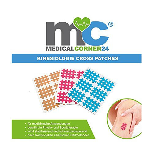Medicalcorner24 162 Kinesiologie Crosstape,Akupunktur-Pflaster, Gitterpflaster, Cross-Patch Gittertape 2,7 x 2,1 cm blau pink beige
