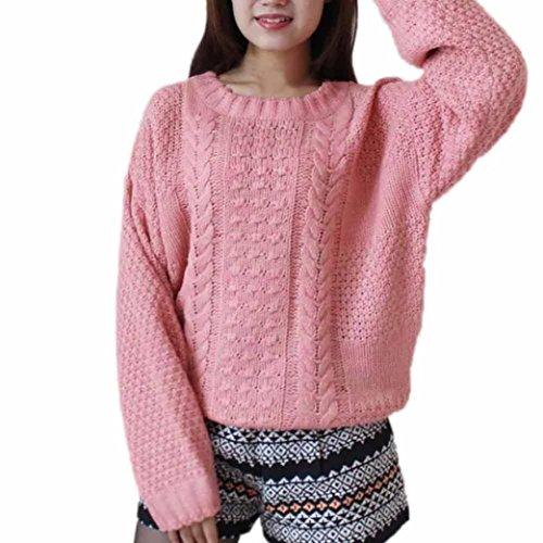 Bellelove Mode Frauen V-Ausschnitt lose gestrickte Tops lange Ärmel Pullover Casual Warm Knitwears (S, Rosa) (Popeline-cape)
