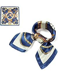 QBSM Womens 23.6 inch Large Satin Silk Feeling Formal Square Neck Scarf Head Hair Scarfs Wraps 60x60cm