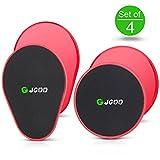 Discos Deslizantes para abdominales sliders ejercicio de doble cara para usar en cualquier superficie, JGOO Fitness Set of 4 Gliding Discs para CrossFit, Gimnasia, Aeróbic y Entrenamiento de Fuerza, rojo