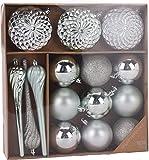 made2trade 15 teiliges Weihnachtsbaumschmuck Set - Platin Silber