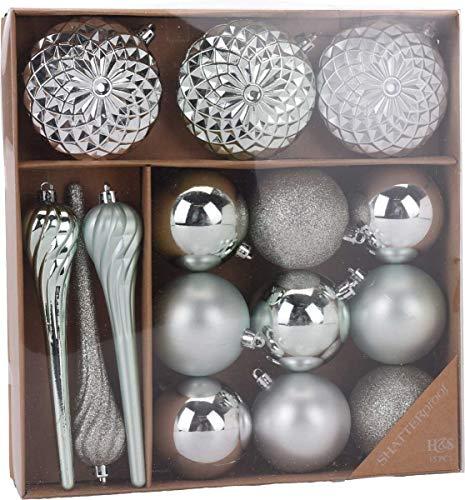 made2trade 15 teiliges Weihnachtsbaumschmuck Set - Platin Silber Platin Vase