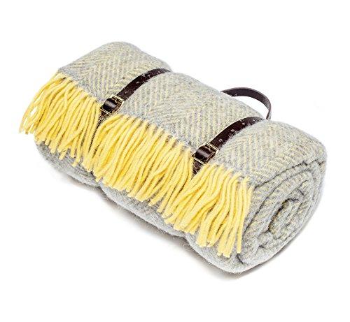 Grau und Gelb Wolle Picknick Decke