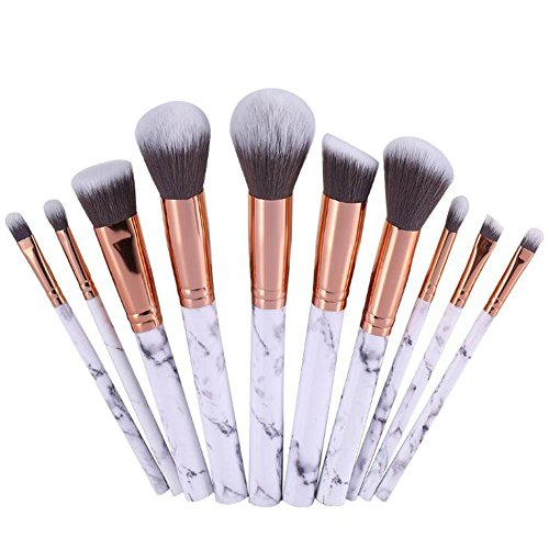 Marmor Muster Professionelle 10 Stück Makeup Bürsten Foundation Blush Powder Lidschatten Blending Pinsel Kosmetik Pinsel Kit