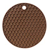 TAOtTAO Multifunctional Silicone Honeycomb Pad Silicone Foldable Non-slip Placemat Bar Mat (Coffee)