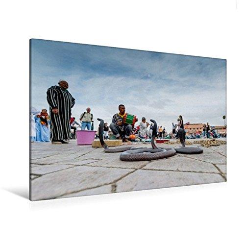 Premium Textil-Leinwand 120 cm x 80 cm quer, Schlangenbeschwörer auf dem Platz der Gehenkten | Wandbild, Bild auf Keilrahmen, Fertigbild auf echter Leinwand, Leinwanddruck: Marrakesch (CALVENDO Orte)