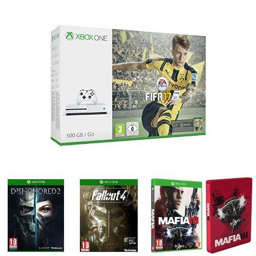 Pack Console Xbox One S 500 Go + Fifa 17 + Dishonored 2 + Fallout 4 + Mafia III+Steelbook