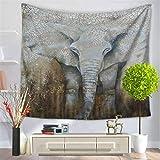 Baisheng Indian Mandala Wandbehang Tapisserie Hippie Wandteppiche Bettwäsche Tagesdecke, Picknick Strand Blatt, Tischdecke, dekorative Wandbehang (Indischer Elefant Blumendruck- 59x78 Inch/150x200 CM)