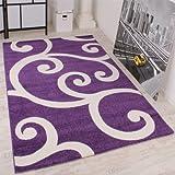 lalee tapis design motifs blancs sur fond violet 120 x 170 cm - Tapis Moderne Violet