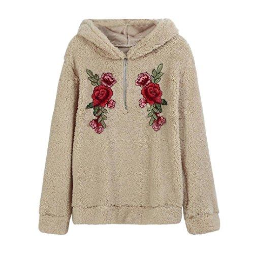 Hoodies Sweatshirt Damen, DoraMe Frauen Rose Appliqué Bestickt Kapuzen Pullover Zipper Bluse Faux Fur Lässig Langarmshirt (Khaki, S) (Jumper Bestickte)