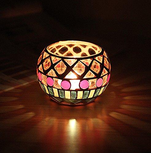 ALAMP Glass Candle Holder Votive Mosaic Tealight Holder Romantic Candlestick Holder For Home Decor Wedding Party Celebration