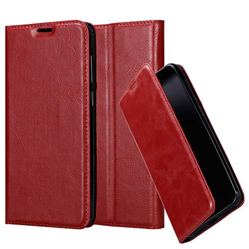 Cadorabo Hülle für Samsung Galaxy A50 in Apfel ROT - Handyhülle mit Magnetverschluss, Standfunktion & Kartenfach - Case Cover Schutzhülle Etui Tasche Book Klapp Style
