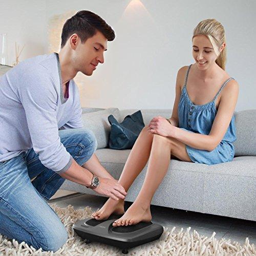 Naipo Fuss Massagegerät Shiatsu Fussmassage Gerät elektrische mit 18 Tiefknetende Massageköpfen, Hitzefunktion, Bedienung via Touch Therapie Fußmassager für Zuhause und Büro