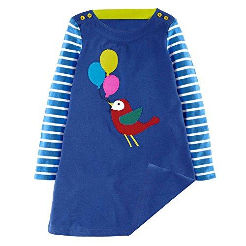 Mädchen Langarm Herbst kleider Tiere Cartoon Mustern Kleid (Kleid Tier Kinder Für)