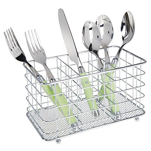 mDesign Farmhouse Modern Metal Wire Cutlery and Utensil Storage Organizer Bin for Kitchen, Pantry, Table and Countertop - Utensil Caddy Holds Forks, Knives, Spoons, Napkins - 3 Sections - Chrome
