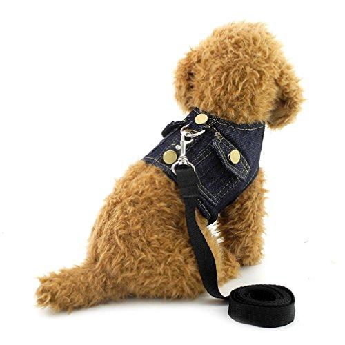 ranphy Kleiner Hund/Katze Denim Weste Geschirr Puppy Jacke Hund Cat weichem Mesh Geschirr Leine Set führt Denim-military-jacke