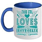 Tasse à café « My Husband » avec inscription « This Girl Loves Her Ironworker's Wife » - Idée cadeau unique pour femme Mug 11 Oz Accent Mug - Blue...