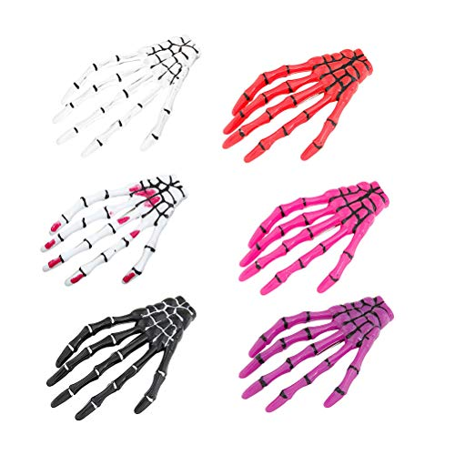 Beaupretty Skeleton Hand Bone Claw Punk Haarspangen, Ghost Claws Hand Claw fluoreszierend für Halloween Cosplay Party Halloween, 6St