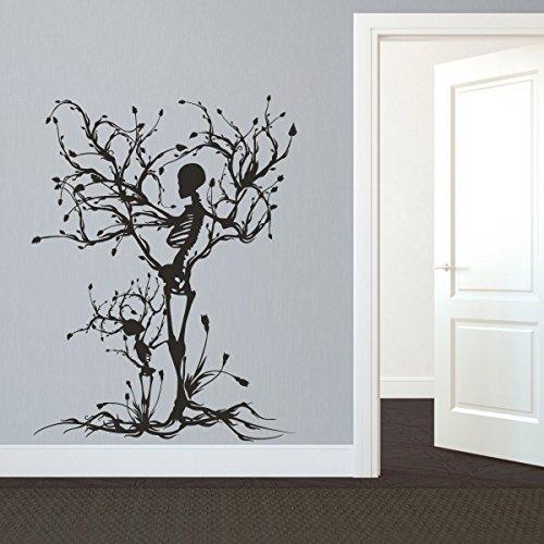MairGwall Gothic Wand Aufkleber Halloween Decor Skelett Art Aufkleber Tree Art Wand für Wohnzimmer, Vinyl, Custom, 50