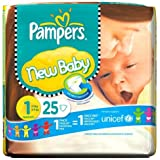 Pampers Couches New Baby Taille 1 (nouveau-né) 2–5 kg/4 – kg 25 Couches ()