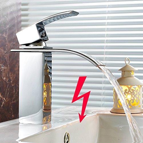 Preisvergleich Produktbild AuraLum® Niederdruck Waschtischarmatur Waterfall Wasserhahn Armatur Einhebelmischer Mischbatterie für Badezimmer Waschbecken mit Wassersparende Funktion