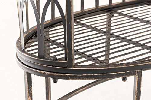 CLP Metall-Gartenbank AMANTI mit Armlehne, Landhaus-Stil, Eisen lackiert, Design antik nostalgisch, Form oval ca. 110 x 55 cm Bronze - 7