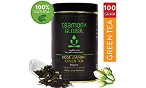 Teamonk Nilgiri Jasmine Green Tea for Weight Loss, 100g (50 Cups) | 100% Natural Loose Leaf Tea with Natural Jasmine Buds | Koge Jasmine Green Tea for Weight Loss | No Additives
