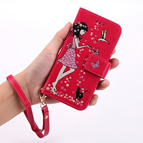 TOYYM Hülle für iPhone SE,iPhone 5/5s Lederhülle,Leuchtende Mädchen und Katze Muster Design PU Leder Flip Cover Wallet Brieftasche mit Standfunktion Kartenfächer Magnetverschluss,Bookstyle Luminous Fo Rose