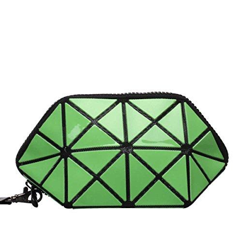 Frauen Unregelmäßige Geometrische Form Handtasche Kosmetiktasche,Green-OneSize