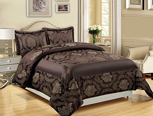 3-teiliges Luxus-Bettwäsche-Set, Jacquard, gesteppte Tagesdecke, Größe Doppelbett/King Size, Betty Chocolate, Double (220x240 CM)