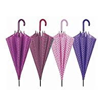 Multipack 12 x polka dot and stripes walking stick style umbrellas from the Perletti Basics Collection