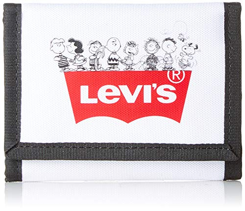 Levi's Herren Peanuts Squad Tri-fold Geldbörse, Weiß (Regular White), 1x12x9 Centimeters
