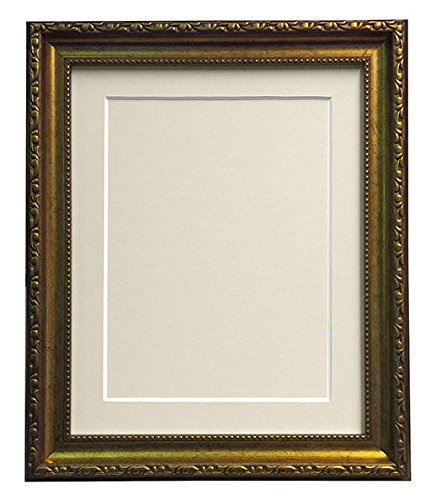 AP - 3025 Gold Bilderrahmen, mit schwarzem, weißem, elfenbeinfarbenem Passepartout, Pink oder Blau mit RÜCKWAND-Platten, plastik, Ivory Mount With Backing Board, 40 x 50 cm Pic Size 16