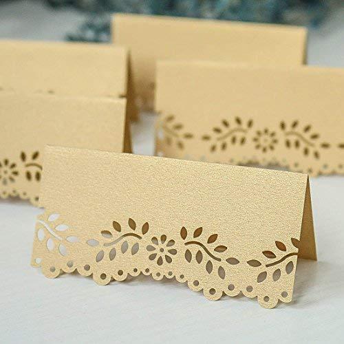 60CS beige gold shimmer Einladungen Tischkarte Laser Schnitt Hohl Floral DIY Vintage Perlglanz -