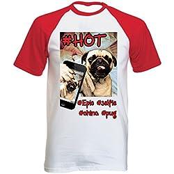 Teesquare1st PUG SELFIE Tshirt con manga corta roja T-shirt Size Small
